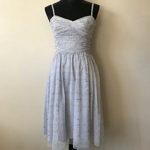 Adrianna Papell Boutique Silver Tulle Formal Dress